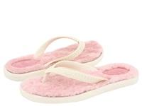 UGG FLUFFIE经典奢华沙滩羊皮毛印花夹趾多色女士拖鞋1684 WHT 5