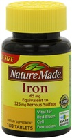 铁 Nature Made Iron 65mg, 180 Tablets