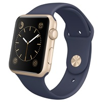 【圣誕免息】Apple Watch Sport 智能手表(42毫米金色鋁金屬表殼搭配午夜藍色運動型表帶 MLC72CH/A )